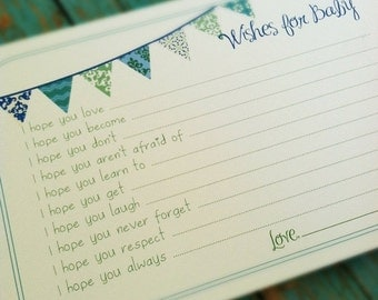 ON SALE Set of 50 Professionally Printed Wishes for Baby Boy Cards - Unique Baby Shower Activity Game or Memory Book Idea - Blue and Green