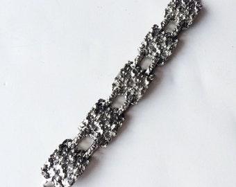 VTG. Silver Modernist Bracelet- Brutalist, Artisan Jewelry, Glam Rock & Roll Link Minimalist