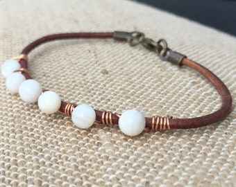 White Shell and Leather Bracelet
