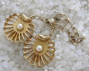 sweater guard vintage  sweater clip  soft gold tones shells, little pearls featured