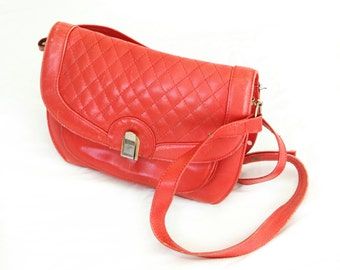 Cherry Pop, Vintage, 1970s Red Leather Quilted Crossbody Satchel Handbag from Paris