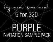 Purple Wedding Invitations, Plum Wedding, Modern Invitations, Elegant Invitations, Cocktail Party, Corporate Event - SAMPLE SET OF 5