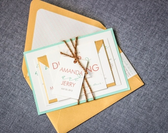 """Modern Wedding Invitations, Calligraphy Invitation, Mint, Coral and Gold Invites - """"Modern Calligraphy"""" Flat Panel, 1 Layer, v1 - SAMPLE"""