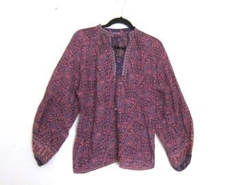 Indian Cotton Gauze Block Print Floral Magenta Peasant Blouse Sheer Top Ladies Size M/L