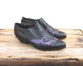 Ankle Chelsea Booties Italian Black Suede Winklepickers 1990s Ladies Size 6