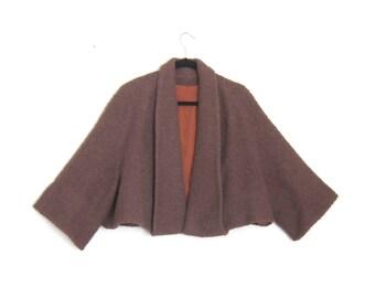 1950s Moca Boucle Wool Capelet Cropped Jacket Ladies OSFM