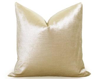 Glisten Velvet Pillow Cover - Gold - More Sizes - Light Gold Velvet Pillow - Velvet Pillow - Decorative Pillow - Designer Pillow