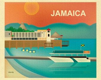 Jamaica Art Print,  Caribbean Poster, Jamaica Wall Art, Jamican Skyline, Jamaica Travel Gift,  Montego Bay Loose Petals - style E8-O-JAM