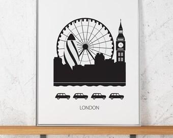London III, poster, Art print, Scandinavian design, skyline, modern poster, Gherkin, Big ben, London Eye
