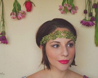 Green Leaf Embroidered Vine Headband
