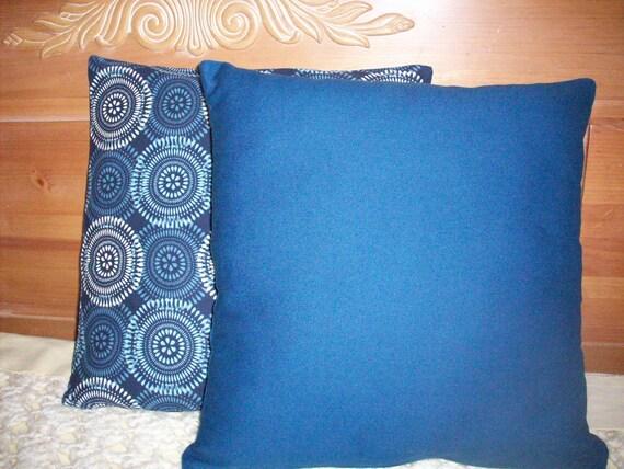 CLEARANCE - Pillow Cushion Covers - Blue White Circles or Plain Blue or Lumbar Pillow - CHOICE