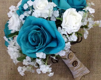 Custom Oasis Rose Bridal Bouquet, Oasis Wedding Bouquet, Oasis Rose and White Baby's Breath Artificial Wedding Flowers
