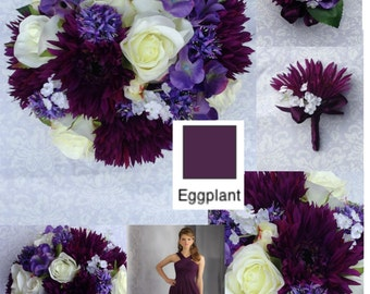 """New Artificial Eggplant Wedding Bouquet 10"""" in Diameter, Eggplant Bridal Bouquet, Eggplant Wedding Flowers"""