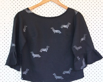 Original Print Dachshund Flounce Blouse Black - Only 1 left!