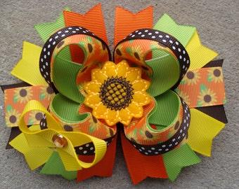 Sunflower hair bow sunflower hair clip Large Boutique Hair Bow large hair bow flower hair bow summer hair bow fall hair bow orange hair bow