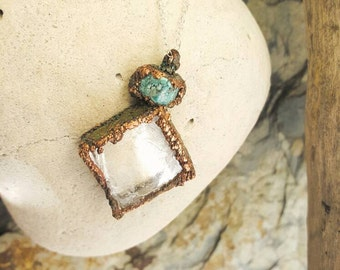 Selenite Turquoise Copper Electroformed Necklace
