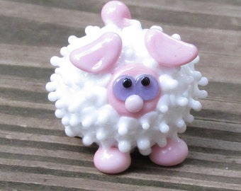 Pink and White Sheep Lamb Ewe Lampwork Handmade SRA OOAK Glass Bead NLC Beads leteam