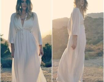 VALENTINES SALE CALLIOPE Caftan /// Adjustable Caftan Flow Dress /// white