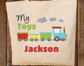 Toy Tote Bag  -- Boys Tote Bag -- Kids Tote Bag  -- Toy Train Bag