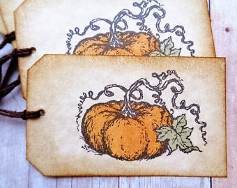 Rustic Pumpkin Gift Tags Autumn Fall Thanksgiving