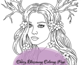 Cherry Blossom Branch Tree Fantasy Girl Flower Coloring Page Zindy Nielsen