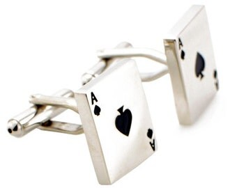 Silver Aces Poker Game Cufflinks  1200076