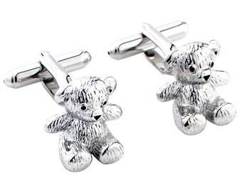 Teddy Bear Cufflinks Silver Animal Cuff links 1200249