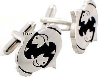 Pisces Astrology Sign Cufflinks Black and Silver Cuff links 1200178