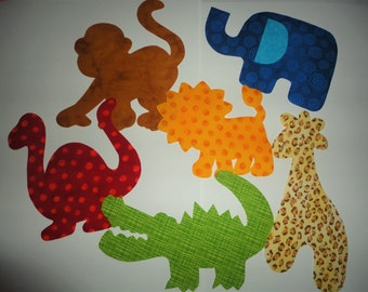 6 Iron On Baby Boy  Applique Assortment...Giraffe/Dinosaur/Money/Aligator/Lion..Great For Baby Shower Onesie Making Party/Quilts/Onesies