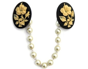 Floral Cameo Sweater Clip - Black and Ivory Hibiscus - Ivory Pearls - Retro Rockabilly Pinup -Cardigan Clip - Sweater Guard - Sweater Clasp