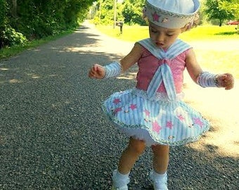 Toddler Sailor Party-Pageant Costume with Matching Hat and Cuffs, Halter with Sailor Collar and Circle Skirt