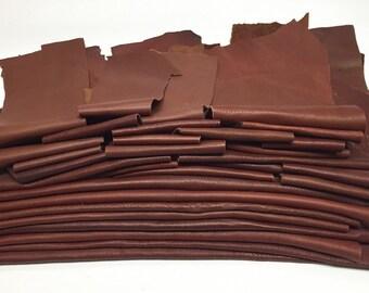25 Scrap Leather Remnants Lot Brown Italian Leather Cowhide Scraps