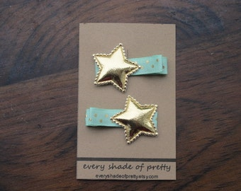 Mint and Gold Star Hair Clips, Gold Star Clips-- Girls hairclips--toddler hairclips