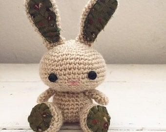 Amigurumi bunny, crochet bunny, tan bunny, bunny tail, rabbit doll, amigurumi animal, crochet amigurumi, ready to ship, handmade, kawaii
