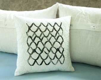 Modern artisan decor pillow 12x12 hand printed with hand quilted details, home, unique home, home decor, home accessories, quilted pillow,