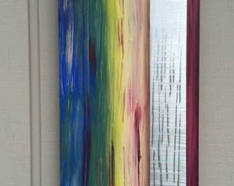 Acrylic painting with metal wall art painting abstract metal sculpture art by Holly Lentz
