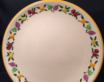 Franciscan Platter,  14 Inch Round Chop Plate,  Small Fruit Pattern,  Serving Platter Pottery