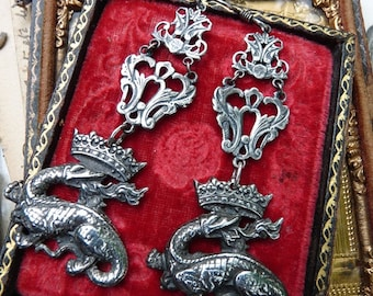 Antique French Royal Crowned Dragon Salamander Earrings, Talismans for the Alchemist, by RusticGypsyCreations