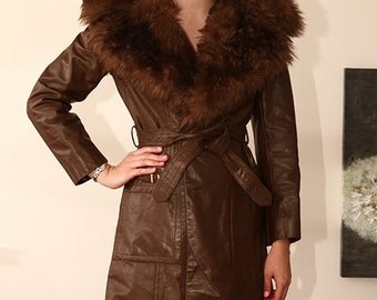 vintage 60s 70s QUALITY brown fur trimmed spy trench wrap coat Carnaby street