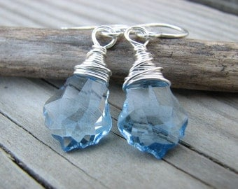 Aquamarine Swarovski Crystal Earrings Baroque Cut Sterling Silver Wire Wrapped Crystal Earrings Sky Blue Pale Blue Crystals