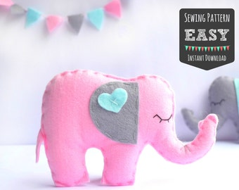 DIY Easy Felt Elephant Sewing Pattern - Softie - Plush - Toy - Topper - Baby Mobile - Animal Pattern
