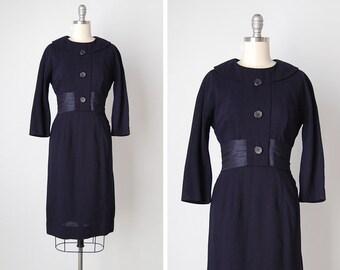 vintage 1950s dress / 50s wool dress / navy blue dress / Lady Hattie dress