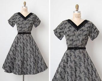 vintage 1950s dress / 50s embroidered dress / 50s flared dress / Midnight Ivy dress