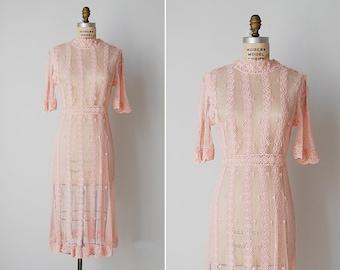 vintage crochet dress / pink crochet dress / crochet lace dress / Blushtone dress