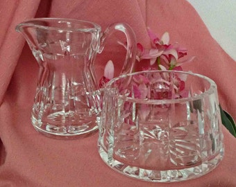 Crystal Sugar and Creamer, Crystal Open Sugar with Creamer, MINT Condition,