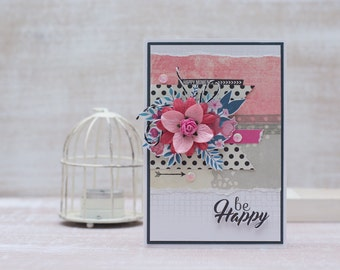 "Handmade greeting card ""Be happy"""