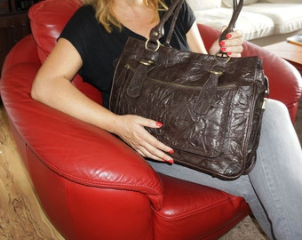 Rina Oversized. Distressed Leather handbag tote // Leather handbag cross-body bag in vintage deep brown fits a 17 inches laptop