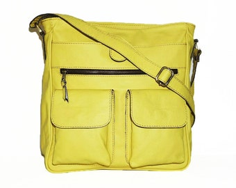 Leather Messenger Bag, Leather Crossbody Purse, Leather Handbag, Leather Messenger, Leather Purse, ipad bag, 11 laptop bag, Bright Yellow
