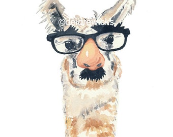 Llama Watercolor Print - Fake Nose and Glasses, 11x14 Art Print, Nursery Art
