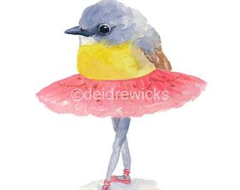 Ballet Watercolor PRINT - 8x10 Illustration Print, Ballet Bird, Ballerina, Robin Watercolour